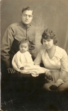 Vtg WW l African American Black Soldier & Family Real Photo Post Card