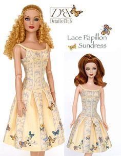 Free Copy of Pattern - Lace Papillon Sundress dress patterns, lace, doll cloth, hundr pattern, barbi misc, free dress, dresses, barbi pattern, fashion doll
