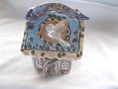 Heather Goldmine House Fairy Votive Tea Light Candle Holder Cover Cottage Blue #HeatherGoldmine