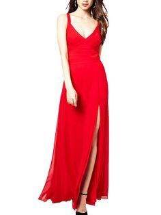 Red Spaghetti Strap Open Back Side Split Party & Evening Dress