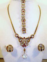 Vintage Crown Trifari Clair De Lune Moonstone Rhinestone Necklace Bracelet Earrings from The Vintage Carousel on Ruby Lane