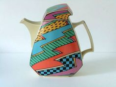 Dorothy Hafner for Rosenthal Studio Line Germany  Flash One coffeepot cream/multi colour Memphis era on Etsy, $236.16 AUD