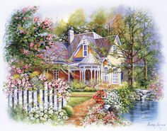 Plaid Paint by Number 16 in. x 20 in. Kit Victorian Cottage Paint by Number Plaid Paint By Number, Paint By Number Kits, Victorian Cottage, Victorian Homes, Victorian Gardens, Water Based Acrylic Paint, Garden Painting, House Painting, Classic Paintings
