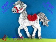 Horse crochet Applique Pattern ~ this pony would be great on a little boy's blanket, sweater, bib, etc. ~ this is a PURCHASED pattern that is downloaded ~ CROCHET