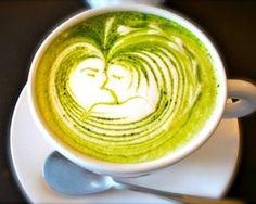 cafe plus(兵庫県姫路駅)matcha green tea latte art