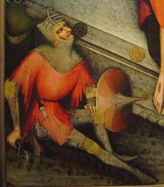 Bar grill on a bascinet.  Atypical but historically accurate.  1380-1385 - 'Třeboň-altarpiece, resurrection' (Master of the Třeboň-altarpiece), Praha, Klášter sv. Anežky České, Praha, Czech Republic by roelipilami, via Flickr
