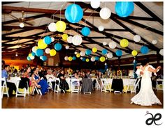 Wedding lanterns in my colours!  Sub in tissue poms