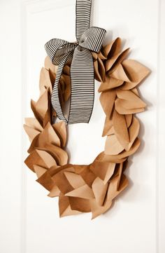 boxwood clippings_wreath made from brown paper bags, completly free! DIY wreath