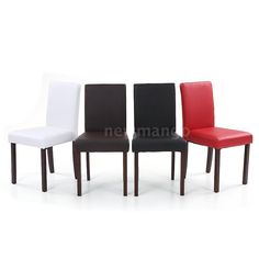 Set of 2 Elegant Design Modern Leather Parson Dining Chairs Furniture Stool T1R5 #IKAYAA #Contemporary