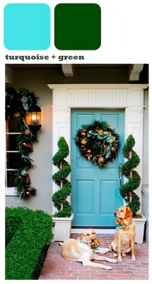 This bright turquiose door really livens up a neutral colored house and looks amazing with lush green landscaping.