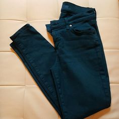 """7 for all mankind lovely green denim jeans Love this green from 7 for all mankind. Zipper fly. 5 pockets denim jeans. Size 25. Inseam 26"""". Hits right at the ankles. Great to wear with slip on or boots. Super comfy. No stains. No holes. Worn a handful of times. 7 for all Mankind Jeans"""