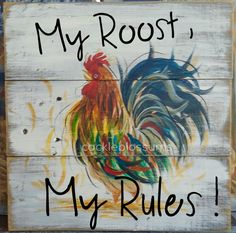 16 x 16 inch Rustic Weathered Wood Wall Decor Rooster Original Art More farmhouse pillow covers at The Swanky Rooster. Rooster Painting, Rooster Art, Rooster Decor, Tole Painting, Painting On Wood, Painting On Pallet Wood, Chicken Signs, Chicken Art, Chicken Houses
