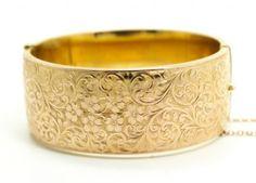 Exceptional-1863-Engraved-Birmingham-English-9K-Gold-Hinged-Cuff-Bracelet-31g
