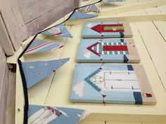 Wooden Beach Hut Craft Shapes Bunting Beach House Craft shape Bunting Large A5