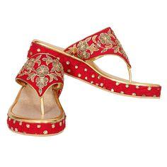 Red and Golden Zardoshi Work Wedding Platforms.