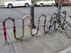 yarnbombed bike stand