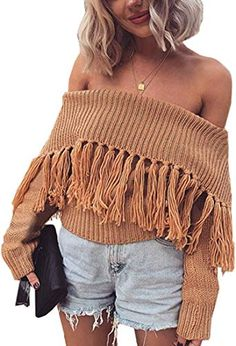 a15a19fee New Angashion Women's Sexy Off Shoulder Long Sleeve Slim Fit Fringe Knit  Crop Top Sweater online