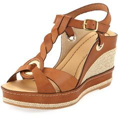 Andre Assous Phillie T-Strap Espadrille Wedge ($250) ❤ liked on Polyvore featuring shoes, sandals, wedges, zapatos, woven leather sandals, ankle strap wedge sandals, brown t strap sandals, leather platform sandals e espadrille wedge sandal