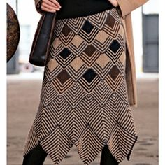 Swirl miter skirt, Vogue Knitting Mine......