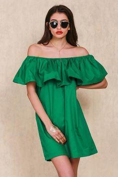 green ruffle dress, green off the shoulder dress, casual trendy dress - Crystalline