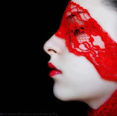 Red - Fashion Photography - Red Lips - Red Lace - Portrait - Close-up