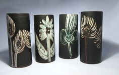Briglin vases from the Eileen Lewenstein and Brigitte Appleby and team. These black vases use show complex use of wax resist and oxides before and after the application of the black oxide layer. Cylinder Vase, Vases, Black Vase, Black Oxide, Pottery Ideas, Earthenware, Drums, 1970s, Pots