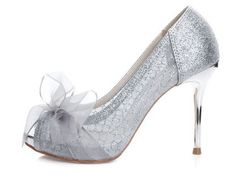 Korean version of star models with gold and silver sequins high-heeled lace wedding dress code size fish head high-heeled shoes