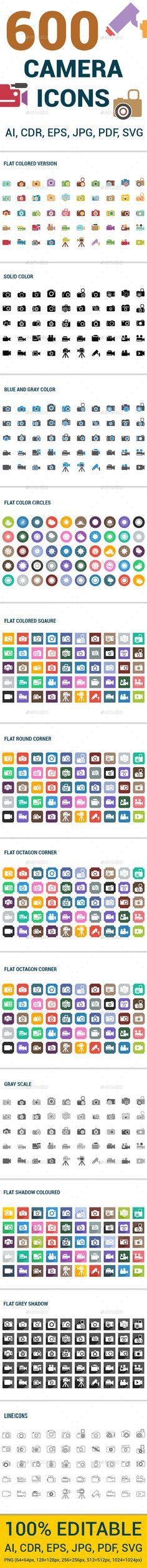 600 Camera Icons Set #design Download: http://graphicriver.net/item/600-camera-icons-set/13290381?ref=ksioks