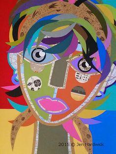 paper collage self portrait Face Collage, Collage Art, Alphonse Mucha, 6th Grade Art, Atelier D Art, Art Curriculum, School Art Projects, Illustration, Middle School Art
