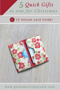 If you need a 'last-minute' gift, here is a fun, quick and easy little project - a card holder that everyone needs. Here is what you need: 2 pieces of fabric an