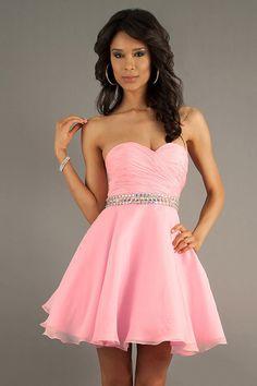 2014 Airly Sweetheart Short/Mini Dress Pleated Bodice A Line Crystal Beaded Waistline Chiffon