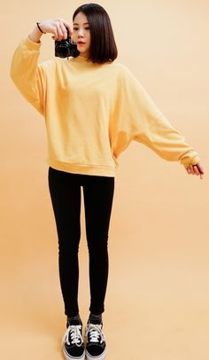 Buy Wide Fit Casual Crew Top at Korean Fashion Store. Real Korean fashion coming directly form South Korea. Find out what's popular in South Korean fashion, we carry the latest styles from Korea on a daily basis. Ulzzang Fashion, Indie Fashion, Korea Fashion, Asian Fashion, Teen Fashion, Fashion Outfits, Fashion Ideas, Fashion Black, Fashion Beauty