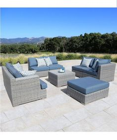 Constructed of hand welded, heavy gauge aluminum and covered in thick UV resistant resin wicker, the Niko 8pc Slate Set by Siriotm has comfortable, deep seating, eco-friendly cushions covered in Sunbrella®  all-weather fabric.