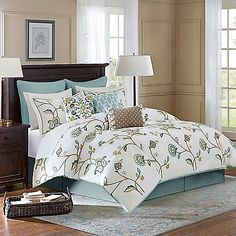 The Channing Comforter Set from Harbor House is a beautifully styled and soothing comforter set that will bring a nice natural look to your bed. It features heavy crewel embroidery with a turtledove color palette for a soft and welcoming look.