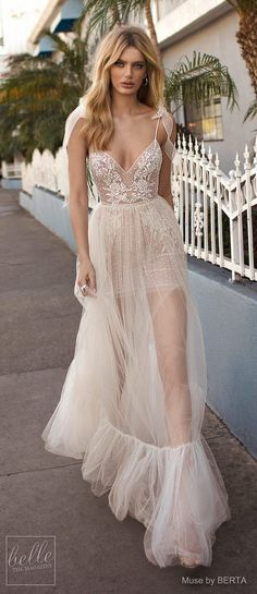 MUSE by BERTA Spring 2019 Wedding Dresses - City of Angels Bridal Collection | Hippie lace wedding dress |  Fit and flare Boho bridal gown | Unique bridal dress with tulle skirt and spaghetti straps | #weddingdress #weddingdresses #bridalgown #bridal #bridalgowns #weddinggown #bridetobe #weddings #bride #weddinginspiration #weddingideas #bridalcollection #bridaldress #fashion #dress See more gorgeous bridal gowns by clicking on the photo