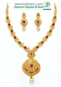 22K Gold Necklace & Drop Earrings Set with Uncut Diamonds , Ruby,Emerald & South sea Pearls: Totaram Jewelers: Buy Indian Gold jewelry & 18K Diamond jewelry