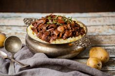 DELICIOUS + HEARTY Vegan Mushroom Bourguignon with walnuts on a bed of fluffy Cauliflower Mash | Quick easy + Gluten-free | Perfect for winter nights and holiday meals