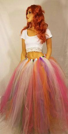 Adult Long Rainbow Tutu Skirt by BBsBoutiqueShop on Etsy