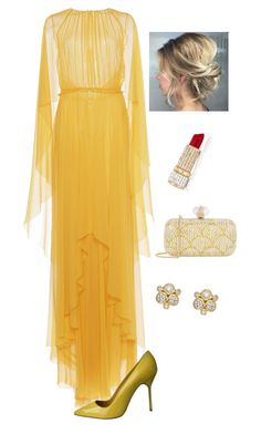 """Evening Gala Fashion"" by kotnourka ❤ liked on Polyvore featuring Alberta Ferretti, Manolo Blahnik, Judith Leiber and Temple St. Clair"