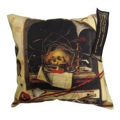 Trompe l'oeil with Studio Wall and Vanitas Still 1668     Inner pillow sold separately   100% cotton canvas 45x45   Front printed, back is solid cotton canvas.  Statens Museum for Kunst / National Gallery of Denmark. www.smk.dk