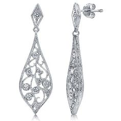 Sterling Silver Cubic Zirconia CZ Filigree Women Fashion Dangle Drop Earrings available at joyfulcrown.com