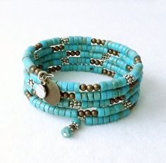 50. USD 5 ROUNDS  Memory Wire Bracelet Turquoise Bracelet Cuff by connectionsbymaya