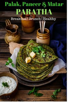Palak, Paneer and Matar Paratha Lunch Recipes, Breakfast Recipes, Vegetarian Recipes, Dinner Recipes, Breakfast Spinach, Breakfast Items, Drink Recipes, Bread Recipes, Yummy Recipes