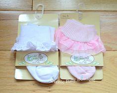 NWT Baby Deer 2 pack Socks Baby Booties Newborn 0-3 White Eyelet & Pink Ruffle #BabyDeer #Socks