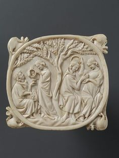 Mirror case, ivory, 1330-40, Paris, France.