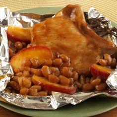 Pork Chop-Apple-Bean Packets