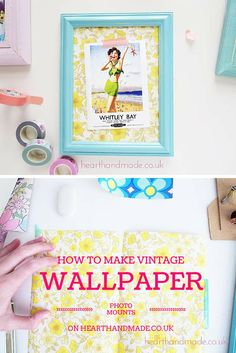 How to make a vintage wallpaper photo mount - click through for tutorial and instructions #craft #diy #tutorial