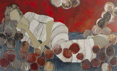 """Sheryl Daane Chestnut, """"Pillow Fight"""", 36 x 60, Mixed Media, $4,000, Eisenhauer Gallery"""