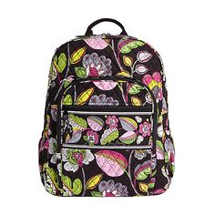 Vera Bradley Campus Backpack ($78) ❤ liked on Polyvore featuring bags, backpacks, black, school & day hiking backpacks, knapsack bags, black bag, zip top bag, rucksack bag and black backpack