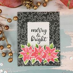 Sunny Studio Stamps: Petite Poinsettias Customer Card by Teresa Medeiros Christmas Cards 2018, Christmas Themes, Christmas Holidays, Christmas Wreaths, Poinsettia Cards, Sunnies Studios, Scrapbook Cards, Scrapbooking, Merry And Bright